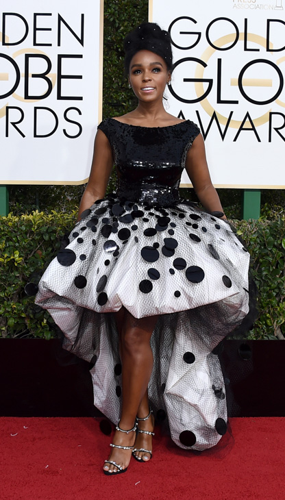 <div class='meta'><div class='origin-logo' data-origin='none'></div><span class='caption-text' data-credit='Jordan Strauss/Invision/AP'>Janelle Monae arrives at the 74th annual Golden Globe Awards at the Beverly Hilton Hotel on Sunday, Jan. 8, 2017, in Beverly Hills, Calif.</span></div>