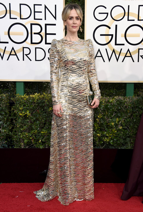 <div class='meta'><div class='origin-logo' data-origin='none'></div><span class='caption-text' data-credit='Jordan Strauss/Invision/AP'>Sarah Paulson arrives at the 74th annual Golden Globe Awards at the Beverly Hilton Hotel on Sunday, Jan. 8, 2017, in Beverly Hills, Calif.</span></div>