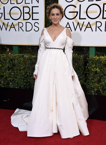 <div class='meta'><div class='origin-logo' data-origin='none'></div><span class='caption-text' data-credit='Jordan Strauss/Invision/AP'>Sarah Jessica Parker arrives at the 74th annual Golden Globe Awards at the Beverly Hilton Hotel on Sunday, Jan. 8, 2017, in Beverly Hills, Calif.</span></div>