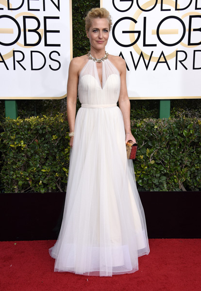 <div class='meta'><div class='origin-logo' data-origin='none'></div><span class='caption-text' data-credit='Jordan Strauss/Invision/AP'>Gillian Anderson arrives at the 74th annual Golden Globe Awards at the Beverly Hilton Hotel on Sunday, Jan. 8, 2017, in Beverly Hills, Calif.</span></div>
