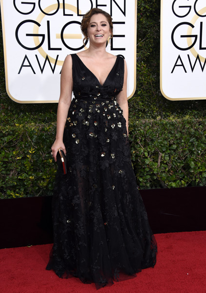 <div class='meta'><div class='origin-logo' data-origin='none'></div><span class='caption-text' data-credit='Jordan Strauss/Invision/AP'>Rachel Bloom arrives at the 74th annual Golden Globe Awards at the Beverly Hilton Hotel on Sunday, Jan. 8, 2017, in Beverly Hills, Calif.</span></div>