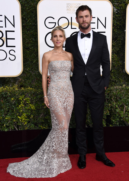 <div class='meta'><div class='origin-logo' data-origin='none'></div><span class='caption-text' data-credit='Jordan Strauss/Invision/AP'>Elsa Pataky, left, and Chris Hemsworth arrive at the 74th annual Golden Globe Awards at the Beverly Hilton Hotel on Sunday, Jan. 8, 2017, in Beverly Hills, Calif.</span></div>