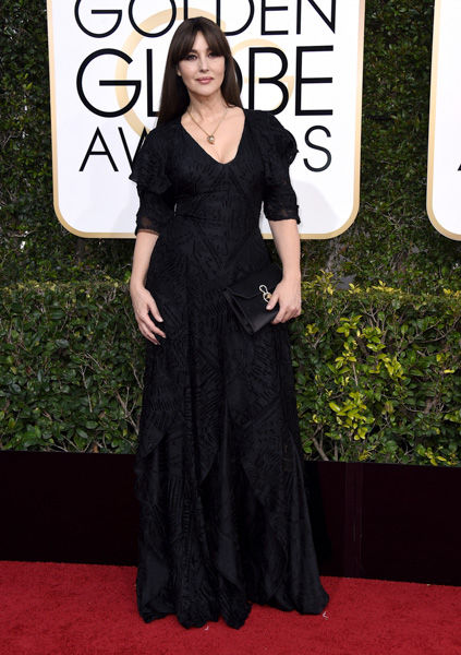 <div class='meta'><div class='origin-logo' data-origin='none'></div><span class='caption-text' data-credit='Jordan Strauss/Invision/AP'>Monica Bellucci arrives at the 74th annual Golden Globe Awards at the Beverly Hilton Hotel on Sunday, Jan. 8, 2017, in Beverly Hills, Calif.</span></div>