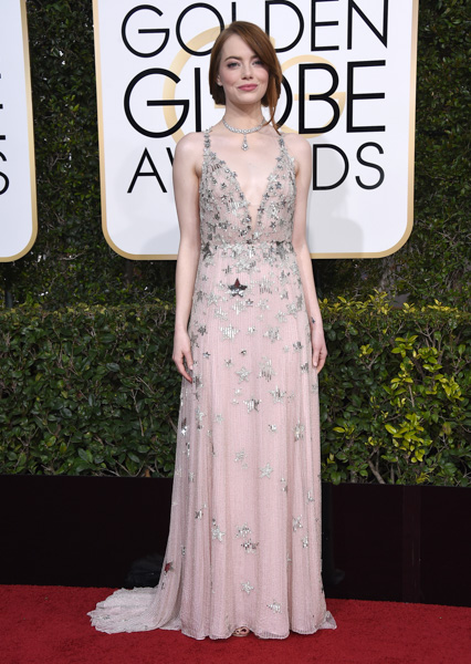 <div class='meta'><div class='origin-logo' data-origin='none'></div><span class='caption-text' data-credit='Jordan Strauss/Invision/AP'>Emma Stone arrives at the 74th annual Golden Globe Awards at the Beverly Hilton Hotel on Sunday, Jan. 8, 2017, in Beverly Hills, Calif.</span></div>
