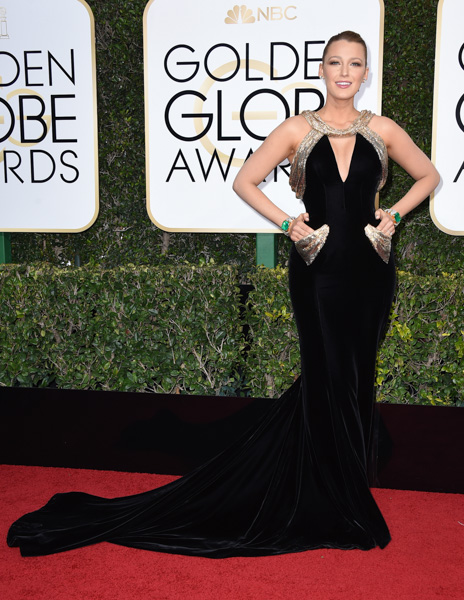 <div class='meta'><div class='origin-logo' data-origin='none'></div><span class='caption-text' data-credit='Jordan Strauss/Invision/AP'>Blake Lively arrives at the 74th annual Golden Globe Awards at the Beverly Hilton Hotel on Sunday, Jan. 8, 2017, in Beverly Hills, Calif.</span></div>