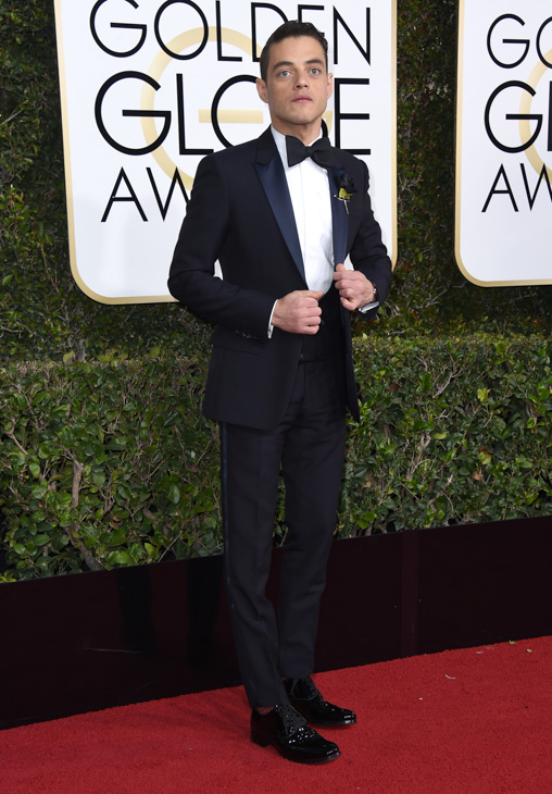 <div class='meta'><div class='origin-logo' data-origin='none'></div><span class='caption-text' data-credit='Jordan Strauss/Invision/AP'>Rami Malek arrives at the 74th annual Golden Globe Awards at the Beverly Hilton Hotel on Sunday, Jan. 8, 2017, in Beverly Hills, Calif</span></div>