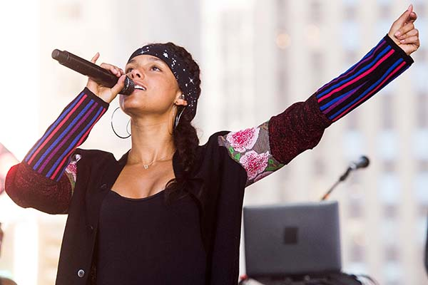 <div class='meta'><div class='origin-logo' data-origin='AP'></div><span class='caption-text' data-credit='Photo by Charles Sykes/Invision/AP'>Alicia Keys performs on NBC's &#34;Today&#34; show in New York.</span></div>