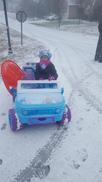 """<div class=""""meta image-caption""""><div class=""""origin-logo origin-image wtvd""""><span>WTVD</span></div><span class=""""caption-text"""">5year old Aubrey taking her jeep out in the snow! (Tiffany Peters - ABC11 Eyewitness)</span></div>"""