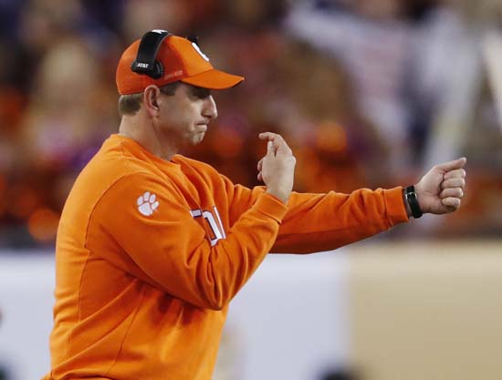 "<div class=""meta image-caption""><div class=""origin-logo origin-image ap""><span>AP</span></div><span class=""caption-text"">Clemson head coach Dabo Swinney signals to his players during the first half of the NCAA college football playoff championship game against Alabama. (AP Photo/John Bazemore) (AP)</span></div>"