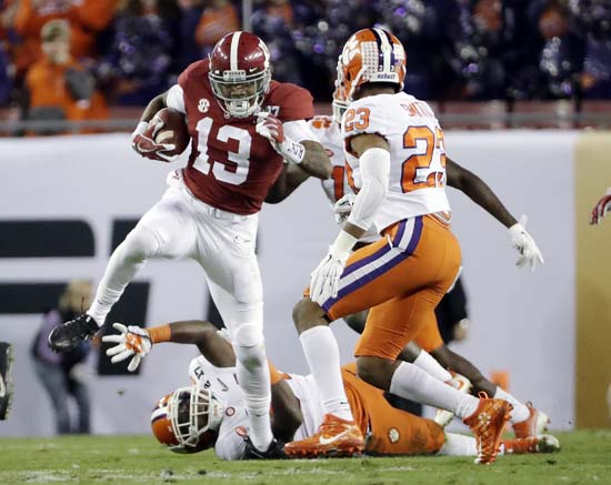"<div class=""meta image-caption""><div class=""origin-logo origin-image ap""><span>AP</span></div><span class=""caption-text"">Alabama's ArDarius Stewart runs during the first half of the NCAA college football playoff championship game against Clemson. (AP Photo/David J. Phillip) (AP)</span></div>"
