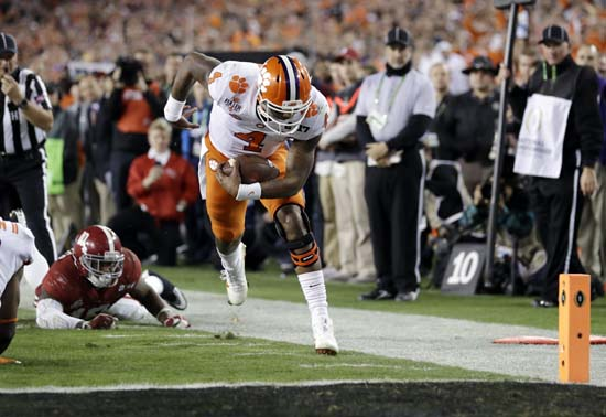 "<div class=""meta image-caption""><div class=""origin-logo origin-image ap""><span>AP</span></div><span class=""caption-text"">Clemson's Deshaun Watson runs for a touchdown during the first half of the NCAA college football playoff championship game. (AP Photo/Chris O'Meara) (AP)</span></div>"