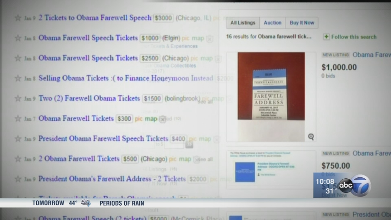 Tickets for Obama farewell speech selling for thousands on ...