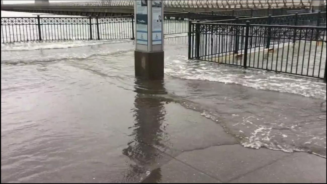 King Tides flood San Francisco's Embarcadero on Tuesday January 10, 2017.