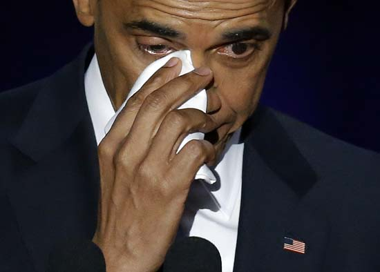 <div class='meta'><div class='origin-logo' data-origin='AP'></div><span class='caption-text' data-credit='AP'>President Barack Obama wipes his tears as he speaks at McCormick Place in Chicago, Tuesday, Jan. 10, 2017, giving his presidential farewell address. (AP Photo/Charles Rex Arbogast)</span></div>