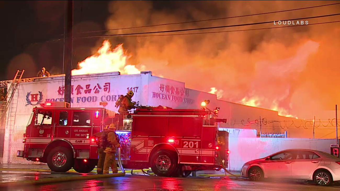 Los Angeles firefighters responded to the scene of a dramatic fire in Chinatown on Wednesday, Jan. 11, 2017.