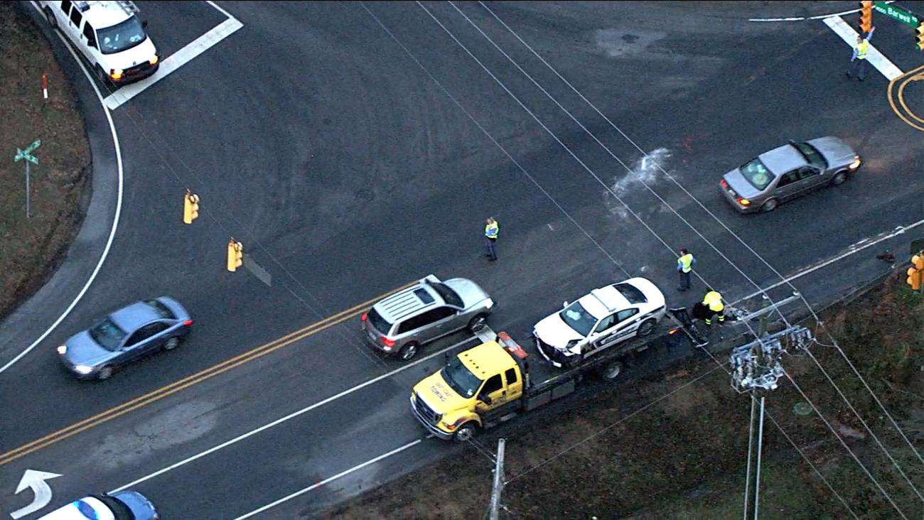 The deputy's patrol car had to be towed away.