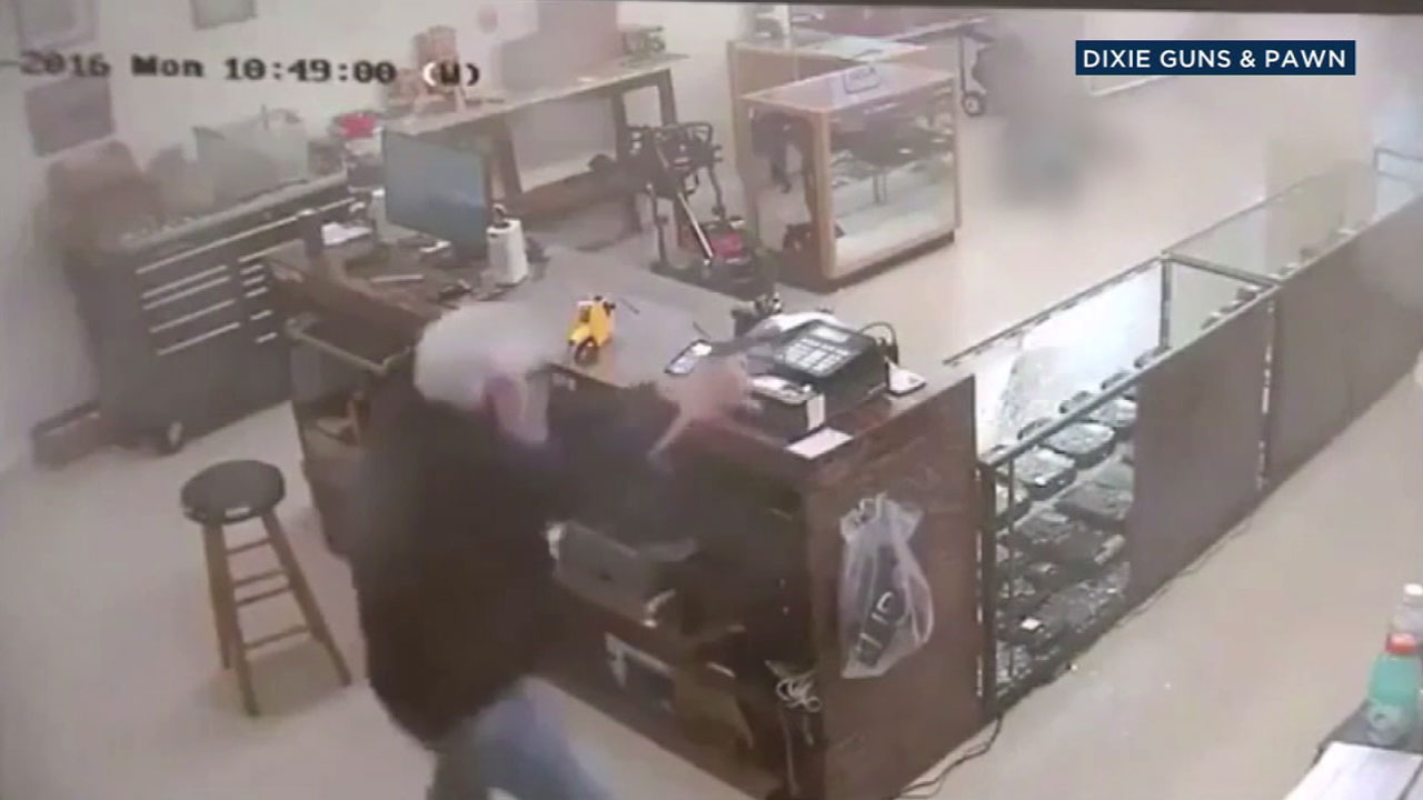 Surveillance video shows a Georgia gun owner opening fire on robbery suspects, killing one of them.