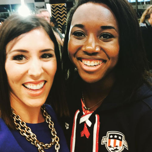 <div class='meta'><div class='origin-logo' data-origin='none'></div><span class='caption-text' data-credit=''>Courtney Fischer celebrates Simone Manuel's Olympic gold at Bush Intercontinental Airport in 2016.</span></div>