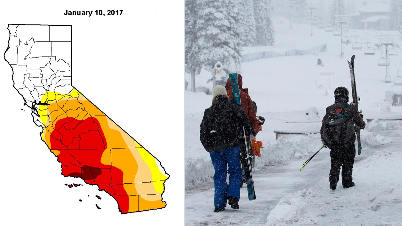 Left: U.S. Drought Monitor California Map. Right: Early-morning skiers take to the slopes to enjoy over a foot of fresh snow at Northstar California resort Wednesday, Jan 4, 2017