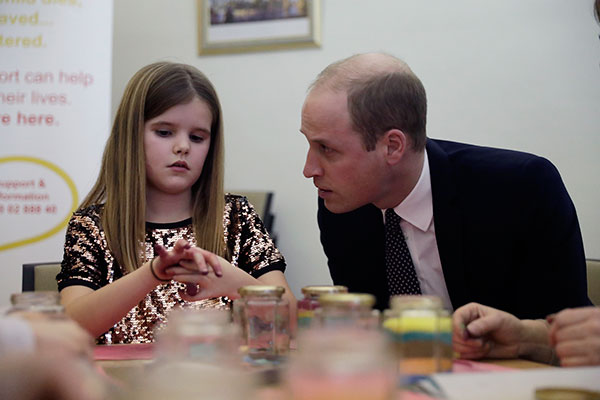"<div class=""meta image-caption""><div class=""origin-logo origin-image none""><span>none</span></div><span class=""caption-text"">Britain's Prince William speaks with Aoife, 9, during his visit to a Child Bereavement UK Centre in Stratford in east London, Wednesday, Jan. 11. (Matt Dunham, Pool/AP Photo)</span></div>"