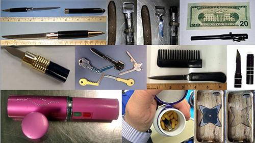 """<div class=""""meta image-caption""""><div class=""""origin-logo origin-image none""""><span>none</span></div><span class=""""caption-text"""">TSA officers confiscated knives hidden in belt buckles, pens, lipstick cases, keys, combs, flashlights and pill bottles. (TSA)</span></div>"""