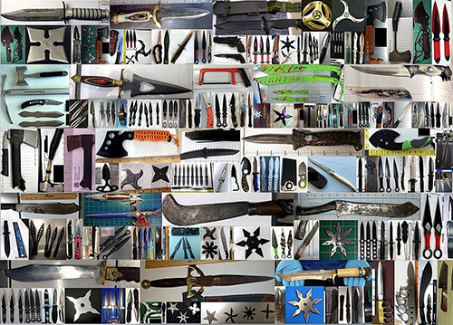 "<div class=""meta image-caption""><div class=""origin-logo origin-image none""><span>none</span></div><span class=""caption-text"">Officers discovered thousands of dangerously sharp items in carry-on bags. (TSA)</span></div>"