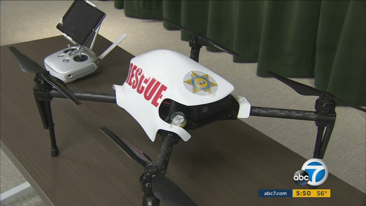 An Unmanned Aircraft System launched to help the Los Angeles County Sheriff's Department during tactical operations.