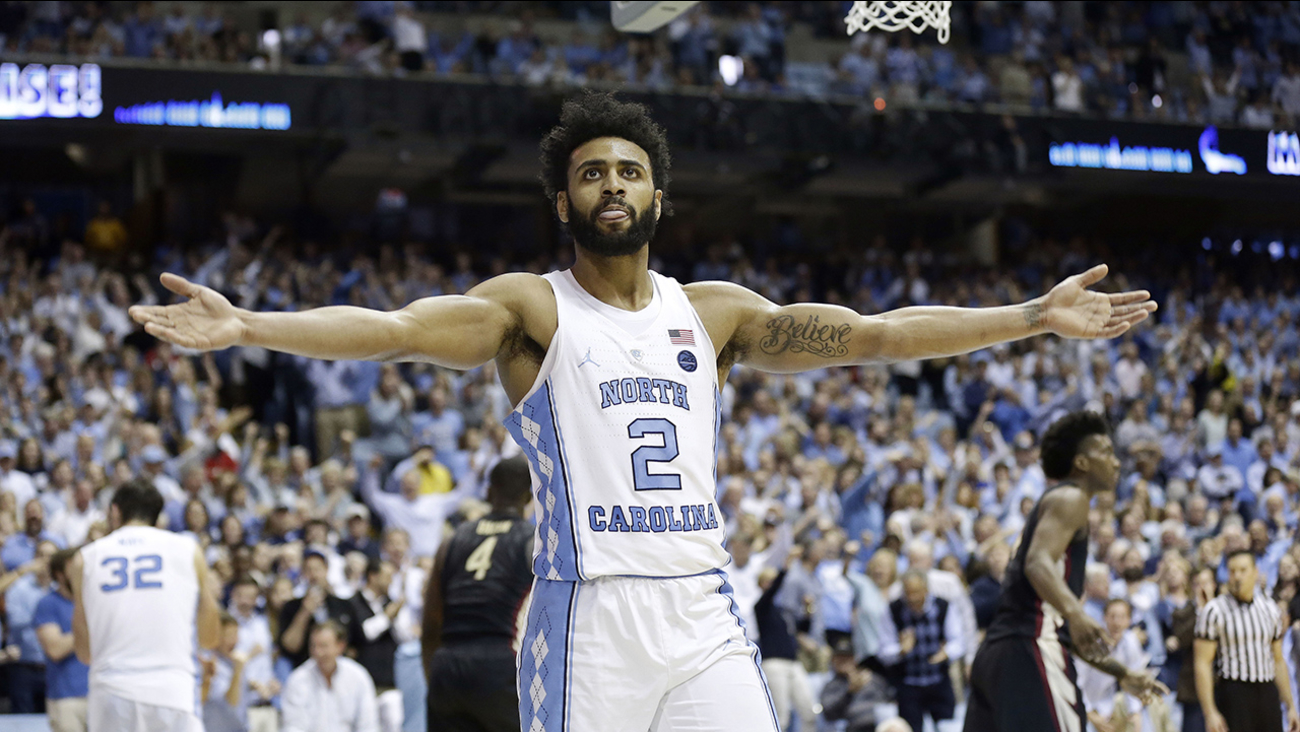 North Carolina's Joel Berry II (2) reacts following a basket against Florida State during the second half of an NCAA college basketball game in Chapel Hill, N.C.