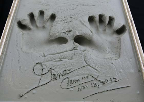 <div class='meta'><div class='origin-logo' data-origin='AP'></div><span class='caption-text' data-credit='AP'>Apollo 17 astronaut Eugene Cernan's hand prints are set in wet concrete at Adler Planetarium, Tuesday, Nov. 13, 2012 in Chicago. (AP Photo/Kiichiro Sato)</span></div>