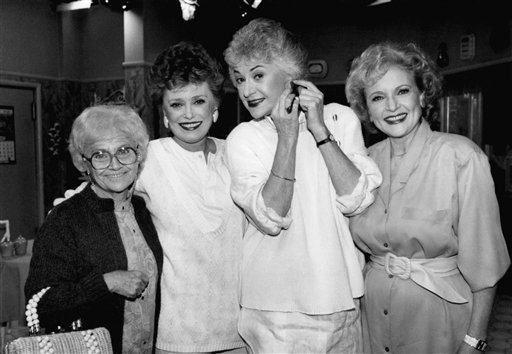 <div class='meta'><div class='origin-logo' data-origin='none'></div><span class='caption-text' data-credit='ASSOCIATED PRESS'>This Dec. 25, 1985 photo shows the stars of the television series &#34;The Golden Girls,&#34; from left, Estelle Getty, Rue McClanahan, Bea Arthur and Betty White during a break in taping.</span></div>