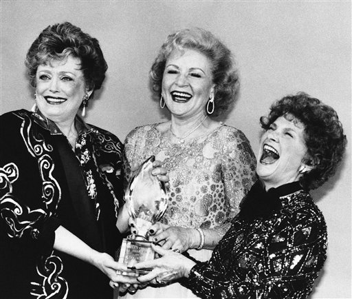 <div class='meta'><div class='origin-logo' data-origin='none'></div><span class='caption-text' data-credit='AP'>Actresses Rue McClanahan, left, Betty White, center, and Estelle Getty, right, share a moment after winning at The People's Choice Awards in Santa Monica, Calif., March 11, 1986.</span></div>