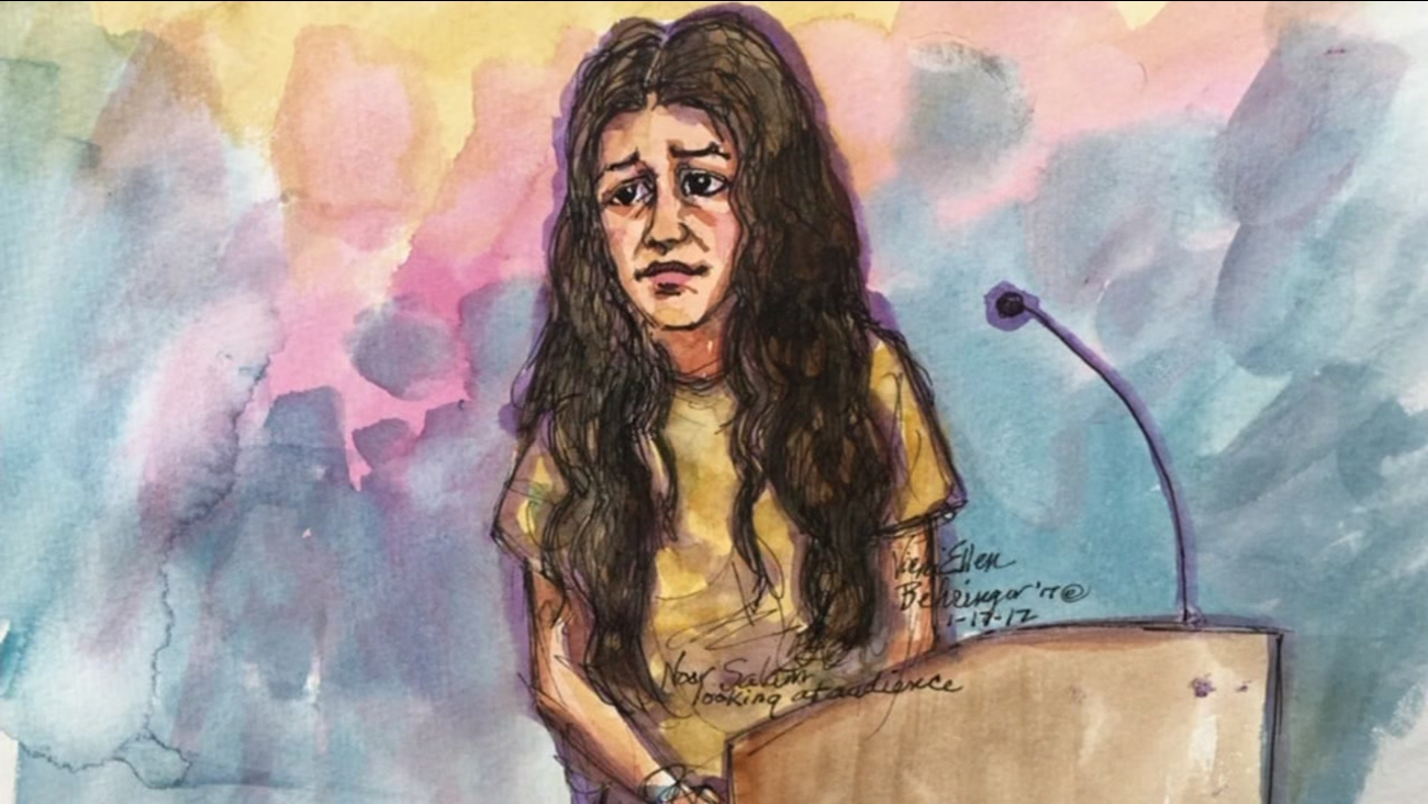 Noor Salman is seen in a sketch during a court appearance in Oakland, Calif. on Tuesday, January 17, 2017.