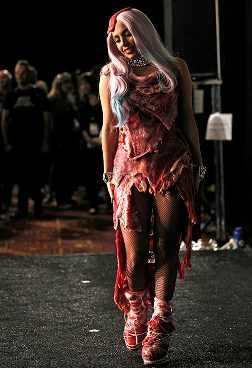 <div class='meta'><div class='origin-logo' data-origin='AP'></div><span class='caption-text' data-credit='AP Photo/Matt Sayles, file'>Lady Gaga walks backstage wearing a dress made of meat after accepting the award for video of the year for &#34;Bad Romance&#34; at the 2010 MTV Video Music Awards.</span></div>