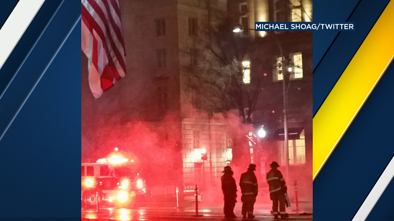 A man set himself on fire in protest of President-elect Donald Trump at the Trump International Hotel in Washington, D.C., on Tuesday, Jan. 17, 2017.