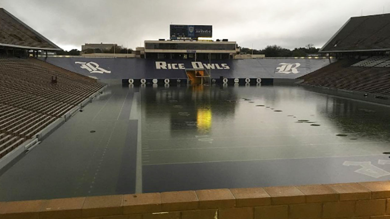 <div class='meta'><div class='origin-logo' data-origin='none'></div><span class='caption-text' data-credit='shawnready_atc/Instagram'>Floodwaters have inundated Rice Stadium, turning it into a lake.</span></div>