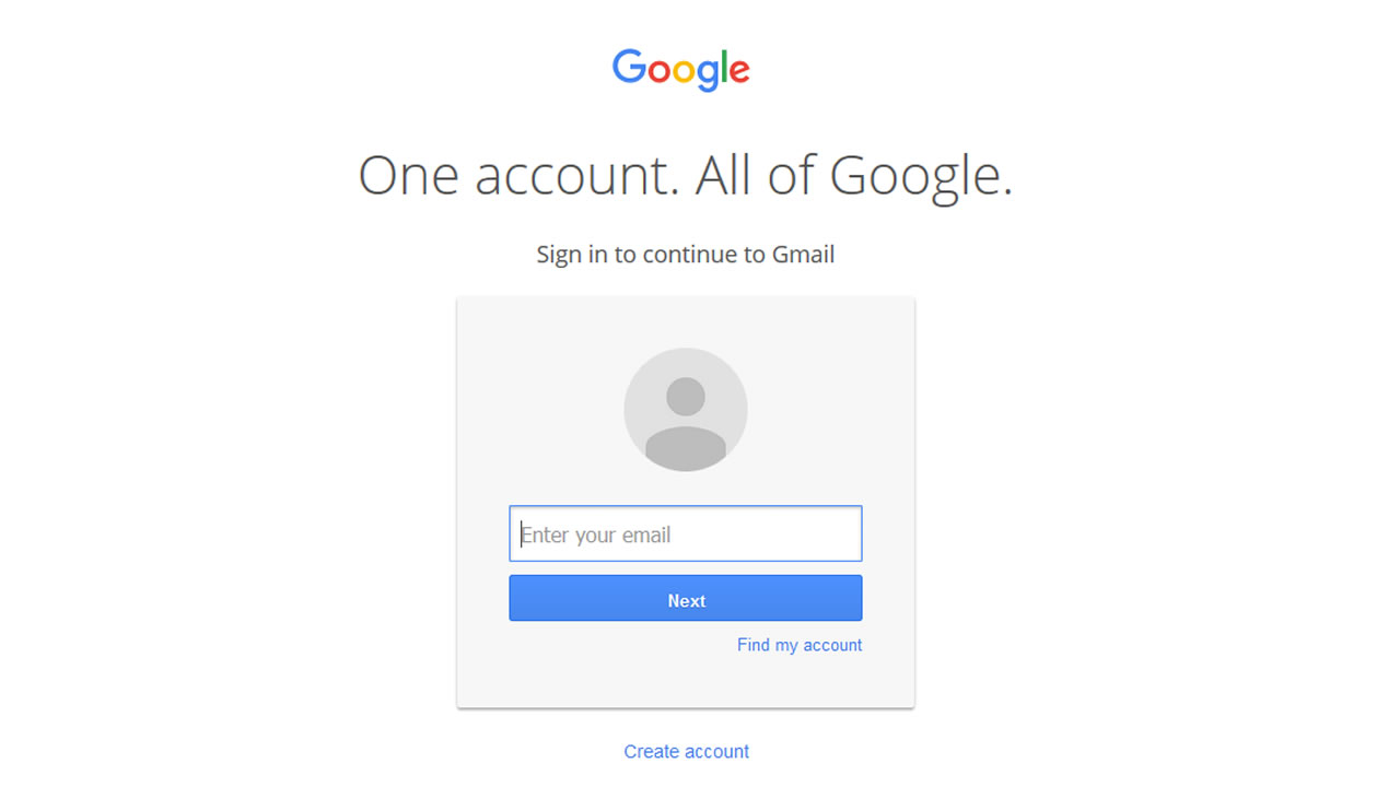 Gmail login page.