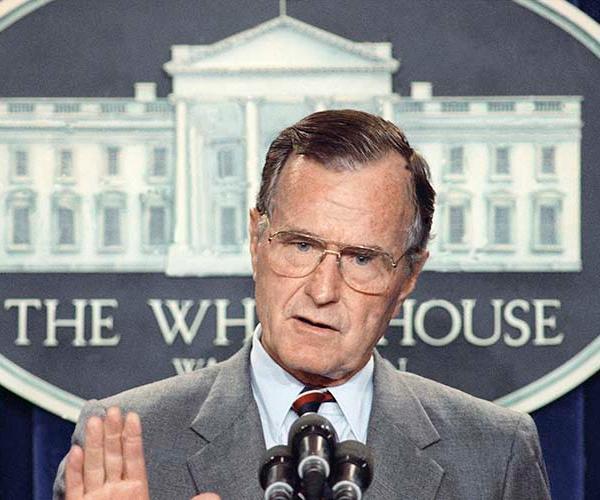 <div class='meta'><div class='origin-logo' data-origin='AP'></div><span class='caption-text' data-credit='ASSOCIATED PRESS'>Former President George H.W. Bush</span></div>