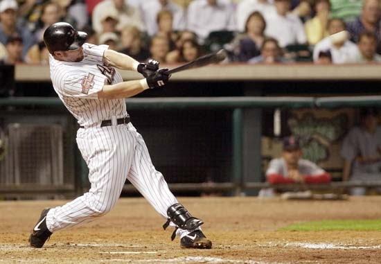 <div class='meta'><div class='origin-logo' data-origin='AP'></div><span class='caption-text' data-credit='Pat Sullivan'>Houston Astros' Jeff Bagwell hits an RBI single in the seventh inning for the go-ahead run against the St. Louis Cardinals, Wednesday, Sept. 29, 2004, in Houston.</span></div>