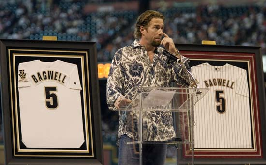 <div class='meta'><div class='origin-logo' data-origin='AP'></div><span class='caption-text' data-credit='Dave Einsel'>Former Houston Astros' Jeff Bagwell  pauses while giving comments during a ceremony to retire his number Sunday, Aug. 26, 2007, in Houston.</span></div>