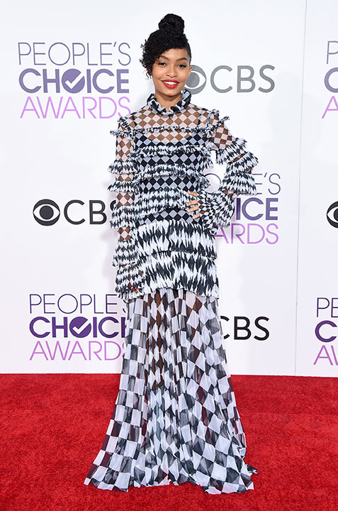 """<div class=""""meta image-caption""""><div class=""""origin-logo origin-image none""""><span>none</span></div><span class=""""caption-text"""">Yara Shahidi arrives at the People's Choice Awards at the Microsoft Theater on Wednesday, Jan. 18, 2017, in Los Angeles. (Jordan Strauss/Invision/AP)</span></div>"""