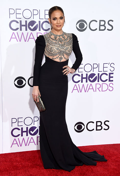 """<div class=""""meta image-caption""""><div class=""""origin-logo origin-image none""""><span>none</span></div><span class=""""caption-text"""">Jennifer Lopez arrives at the People's Choice Awards at the Microsoft Theater on Wednesday, Jan. 18, 2017, in Los Angeles. (Jordan Strauss/Invision/AP)</span></div>"""