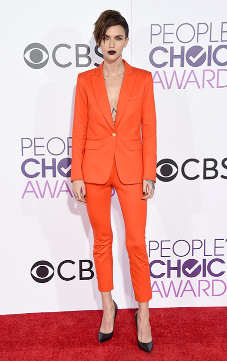 """<div class=""""meta image-caption""""><div class=""""origin-logo origin-image none""""><span>none</span></div><span class=""""caption-text"""">Ruby Rose arrives at the People's Choice Awards at the Microsoft Theater on Wednesday, Jan. 18, 2017, in Los Angeles. (Jordan Strauss/Invision/AP)</span></div>"""