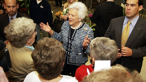 <div class='meta'><div class='origin-logo' data-origin='AP'></div><span class='caption-text' data-credit='AP Photo/Tony Dejak'>Former first lady Barbara Bush talks with supporters after speaking at a rally to promote the Bush-Cheney agenda Monday, Oct. 25, 2004, in Strongsville, Ohio.</span></div>