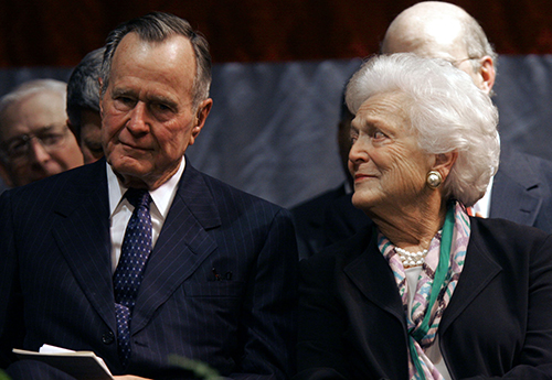 <div class='meta'><div class='origin-logo' data-origin='AP'></div><span class='caption-text' data-credit='AP Photo/Rogelio Solis'>Former President George H. W. Bush, left, and his wife Barbara Bush listen to one of the eulogies praising longtime family friend and former congressman, G.V. &#34;Sonny&#34; Montgomery.</span></div>