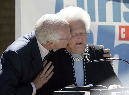 <div class='meta'><div class='origin-logo' data-origin='AP'></div><span class='caption-text' data-credit='AP Photo/Bob Child'>Rep. Christopher Shays, R-Conn., gives former first lady Barbara Bush an impromptu kiss as she speaks at a fundraiser for him in Stamford, Conn., Tuesday, Sept. 12, 2006.</span></div>
