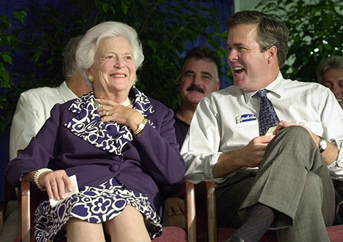 <div class='meta'><div class='origin-logo' data-origin='AP'></div><span class='caption-text' data-credit='AP Photo/Chris O'Meara'>Former first lady Barbara Bush laughs with her son, Florida Gov. Jeb Bush, during a campaign stop in Ellenton, Fla., Monday, Oct. 30, 2000.</span></div>