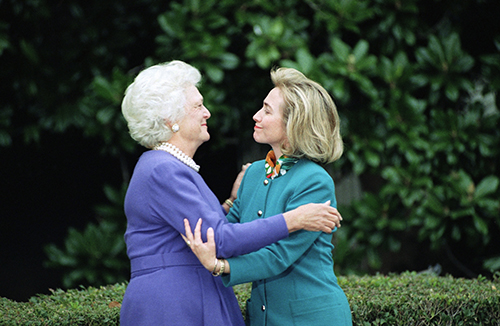<div class='meta'><div class='origin-logo' data-origin='AP'></div><span class='caption-text' data-credit='AP Photo/Ron Edmonds, File'>In this Nov. 19, 1992 file photo, first lady Barbara Bush greets first lady-to-be Hillary Clinton upon her arrival at the White House in Washington.</span></div>