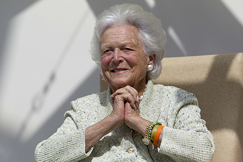<div class='meta'><div class='origin-logo' data-origin='AP'></div><span class='caption-text' data-credit='AP Photo/Robert F. Bukaty, File'>Former first lady Barbara Bush listens to a patient's question during a visit to the Barbara Bush Children's Hospital at Maine Medical Center in Portland, Maine in 2013.</span></div>