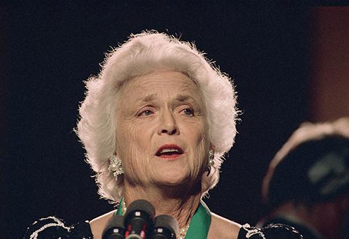 <div class='meta'><div class='origin-logo' data-origin='AP'></div><span class='caption-text' data-credit='AP'>Barbara Bush, wife of U.S. Vice President George Bush, speaks December 1988.</span></div>