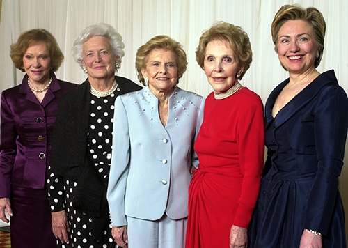 <div class='meta'><div class='origin-logo' data-origin='AP'></div><span class='caption-text' data-credit='AP Photo/Reed Saxon, File'>In this Jan. 17, 2003 file photo, former first ladies get together for a group photo at a gala 20th anniversary fundraising event saluting Betty Ford and the Betty Ford Center.</span></div>